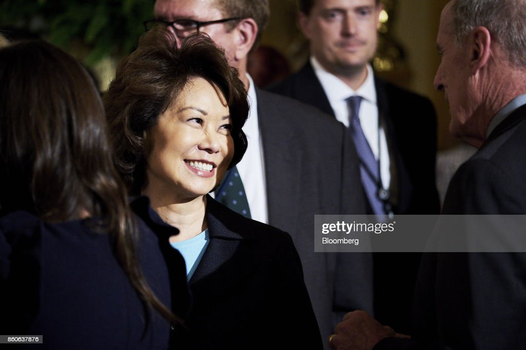 Elaine Chao, U.S. transportation secretary, arrives before U.S. President Donald Trump, not pictured, introduces Kirstjen Nielsen, U.S. secretary of Homeland Security nominee, not pictured, during an event at the White House in Washington, D.C., U.S., on Thursday, Oct. 12, 2017. Trump announced his nomination of Nielsen, a top aide to White House Chief of Staff John Kelly, to succeed him as secretary of Homeland Security. Photographer: T.J. Kirkpatrick/Bloomberg via Getty Images