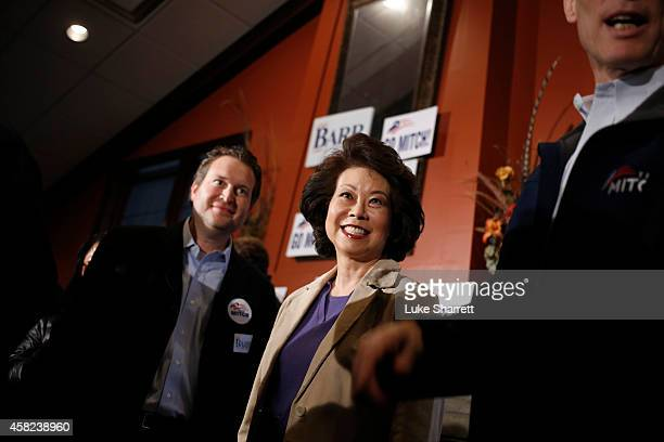 MT Elaine Chao wife of Senate Minority Leader Mitch McConnell is pictured during a campaign rally and hot dog roast at the Old Silo Golf Course and...