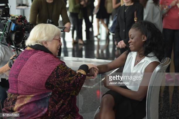 Elaine DePrince and Ballerina Michaela DePrince attend the Jockey 'Show'Em What's Underneath Show'Em Your Jockey' Event in NYC at One World...