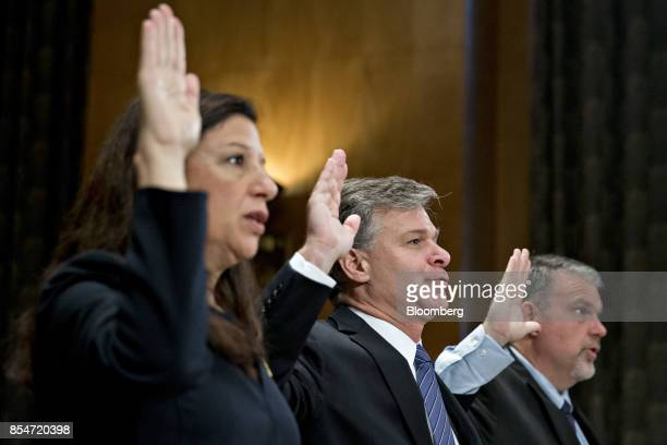 Elaine Duke acting secretary of Homeland Security from left Christopher Wray director of the Federal Bureau of Investigation and Nicholas Rasmussen...