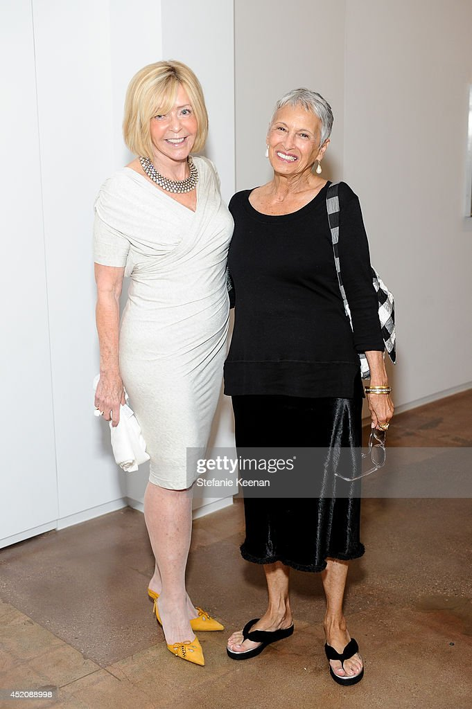 Elaine Glaser and Rosemary Peck attend Joe Goode 'Flat Screen Nature' on July 12, 2014 in Los Angeles, California.