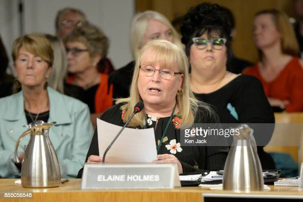 Elaine Holmes of Scottish Mesh Survivors group gives evidence of her experience of transvaginal mesh implants to the Scottish Parliament's Public...