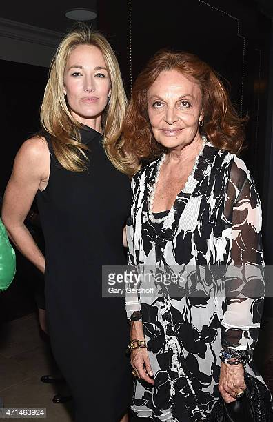 Elaine Irwin and Diane von Furstenberg attend the WWD Relaunch Party at The NoMad Hotel on April 28 2015 in New York City
