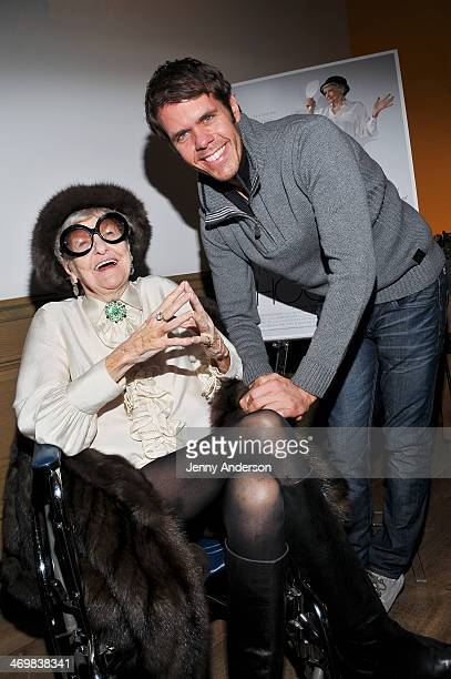 Elaine Stritch and Perez Hilton attend the 'Elaine Stritch Shoot Me' preview event at Crosby Street Hotel on February 16 2014 in New York City