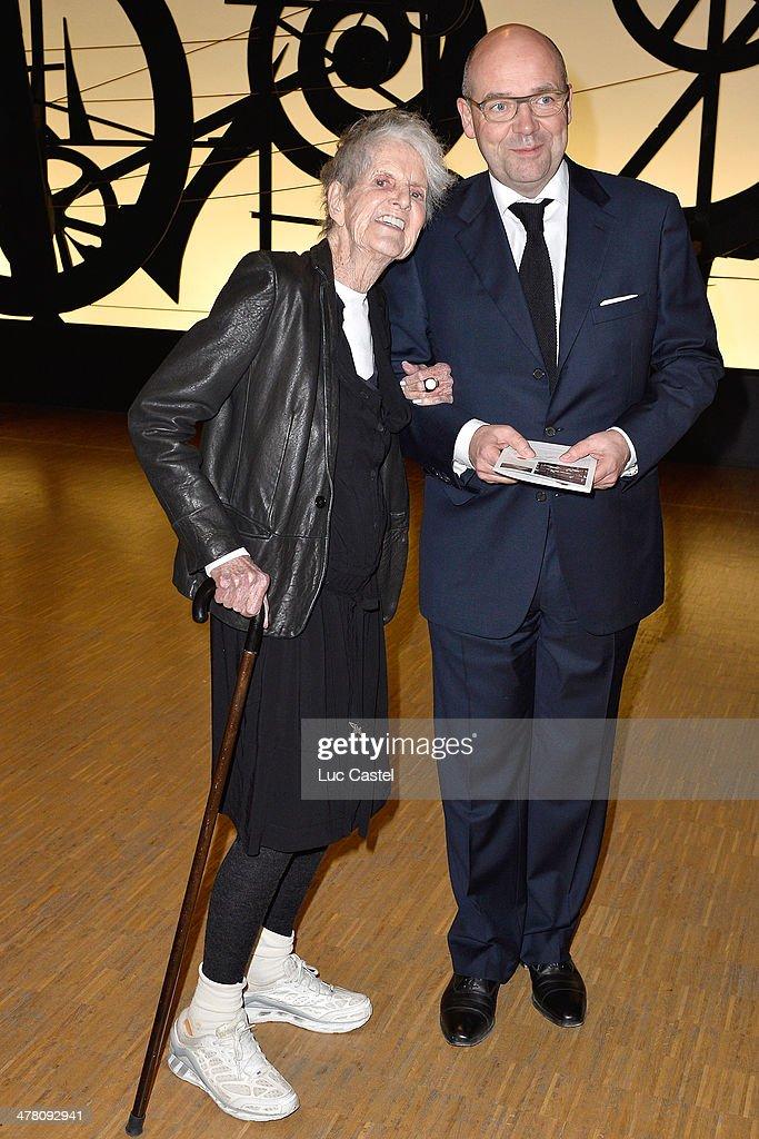 Elaine Sturtevant et Fabrice Hergott attend the 'Societe des amis du Musee D'Art Moderne' : Annual Dinner. Held at Centre Pompidou on March 11, 2014 in Paris, France.