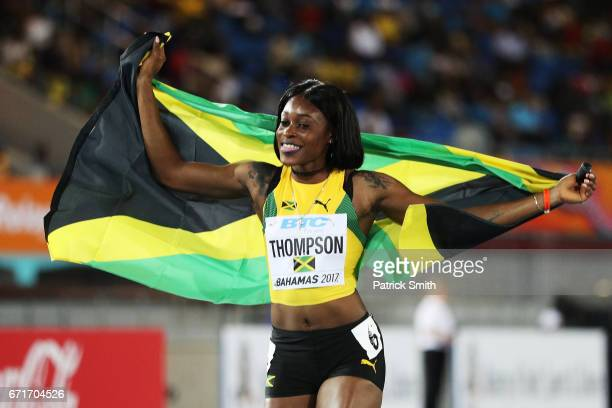 Elaine Thompson of Jamaica celebrates after the Women's 4 x 200 Meters Final during the IAAF/BTC World Relays Bahamas 2017 at Thomas Robinson Stadium...