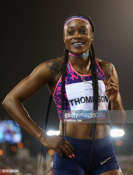 Elaine Thompson of Jamaica celebrates after victory in the Women's 200 metres during the Doha IAAF Diamond League 2017 at the Qatar Sports Club on...