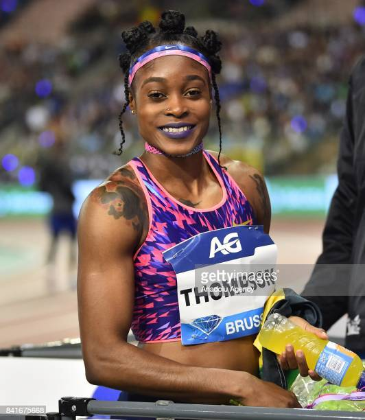 Elaine Thompson of Jamaica celebrates her victory in the Women's 100 metres during the IAAF Diamond League Memorial Van Damme at King Baudouin...