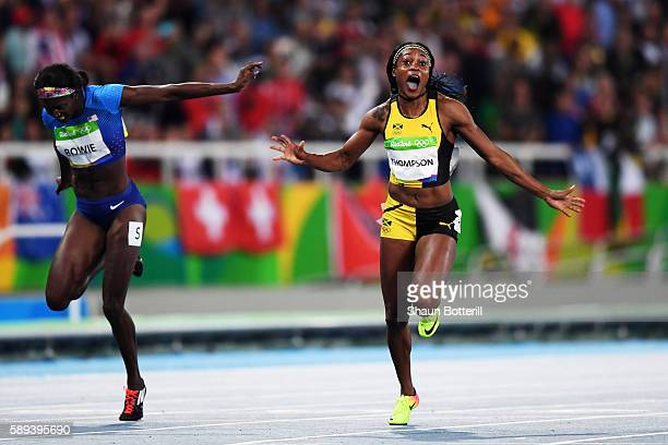 Elaine Thompson of Jamaica celebrates winning the Women's 100m Final ahead of Tori Bowie of the United States on Day 8 of the Rio 2016 Olympic Games...