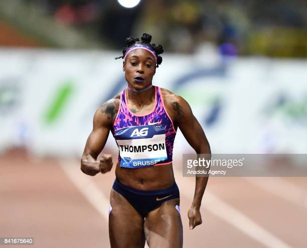 Elaine Thompson of Jamaica competes in the Women's 100 metres during the IAAF Diamond League Memorial Van Damme at King Baudouin Stadium in Brussels...