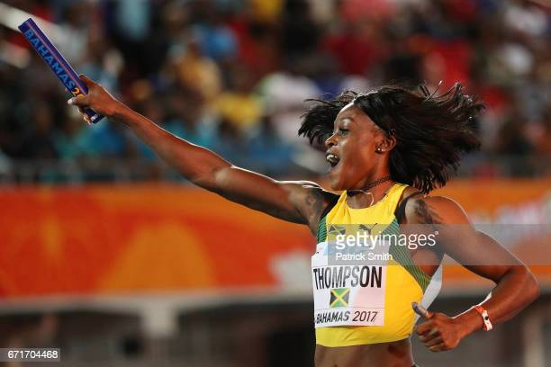 Elaine Thompson of Jamaica crosses the finisline in the Women's 4 x 200 Meters Final during the IAAF/BTC World Relays Bahamas 2017 at Thomas Robinson...