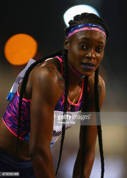 Elaine Thompson of Jamaica looks on after victory in the Women's 200 metres during the Doha IAAF Diamond League 2017 at the Qatar Sports Club on May...