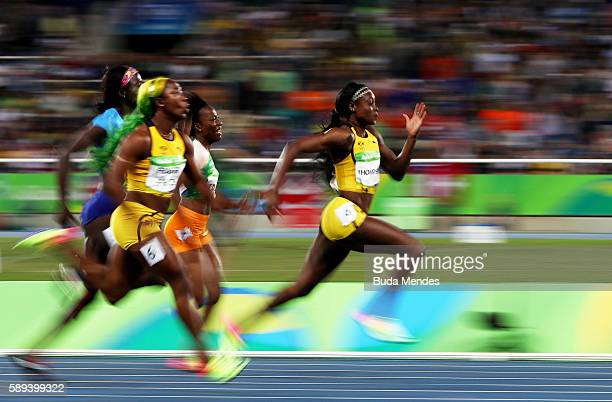 Elaine Thompson of Jamaica on her wat to winning the Women's 100m Final on Day 8 of the Rio 2016 Olympic Games at the Olympic Stadium on August 13...