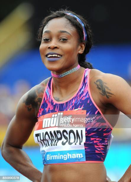 Elaine Thompson of Jamaica poses for a photo after winning the Women's 100m during the 2017 IAAF Diamond League at Alexander Stadium in Birmingham...