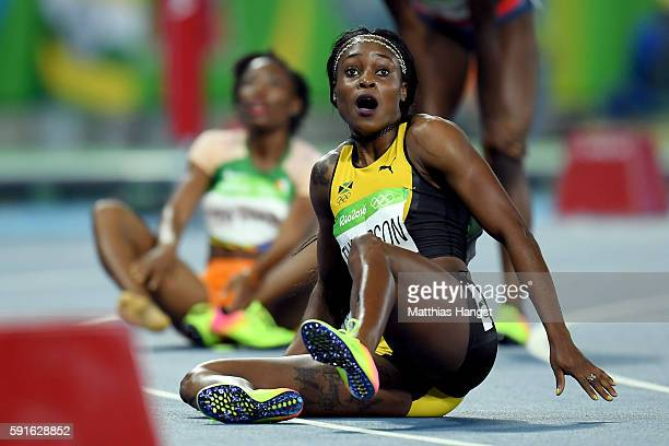Elaine Thompson of Jamaica reacts after winning the gold medal in the Women's 200m Final on Day 12 of the Rio 2016 Olympic Games at the Olympic...