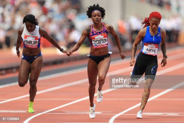 Elaine Thompson of Jamaica wins the womens 100m final during the Muller Anniversary Games at London Stadium on July 9 2017 in London England