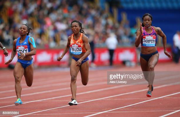 Elaine Thompson of Jamaica wins the Women's 100m race during the Muller Grand Prix Birmingham meeting at Alexander Stadium on August 20 2017 in...