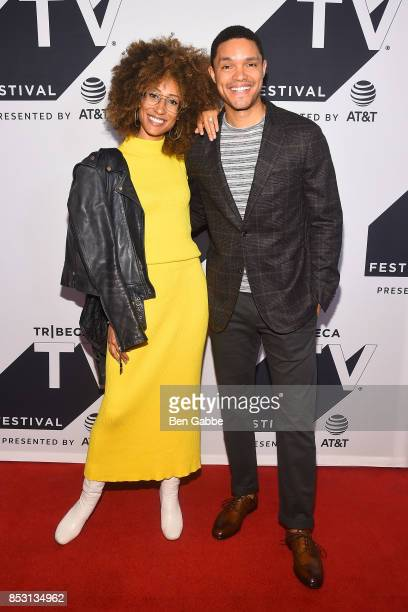 Elaine Welteroth and Trevor Noah attend the Tribeca TV Festival conversation with Trevor Noah and the writers of the Daily Show at Cinepolis Chelsea...