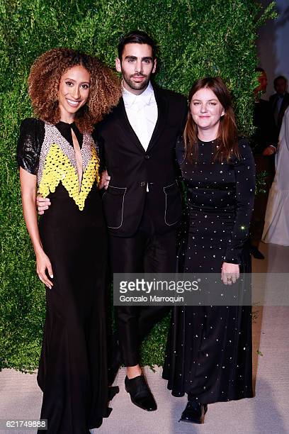 Elaine Welteroth Phillip Picardi and Marie Suteat the 2016 CFDA/Vogue Fashion Fund Awards at Spring Studios on November 7 2016 in New York City