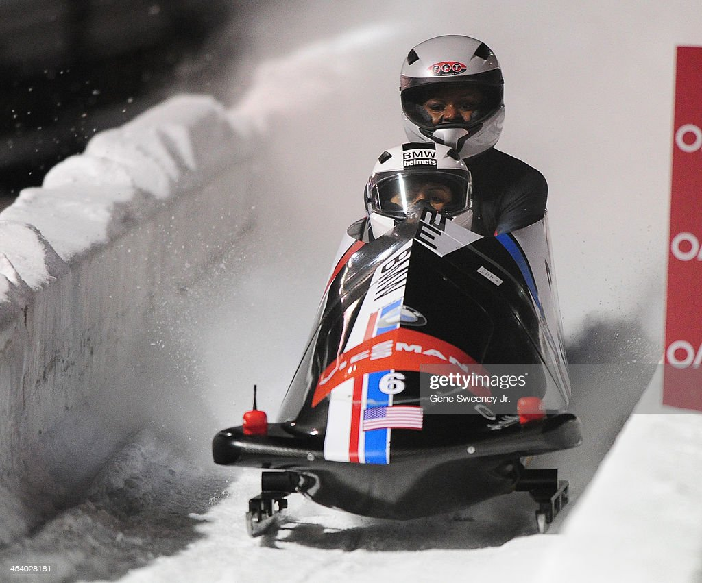 <a gi-track='captionPersonalityLinkClicked' href=/galleries/search?phrase=Elana+Meyers+-+Bobsledder&family=editorial&specificpeople=5631239 ng-click='$event.stopPropagation()'>Elana Meyers</a> and Aja Evans of the United States finish their second run and take the top spot in the Women's Bobsled event during the Viessmann IBSF Bobsled and Skeleton World Cup event at Utah Olympic Park December 6, 2013 in Park City, Utah.
