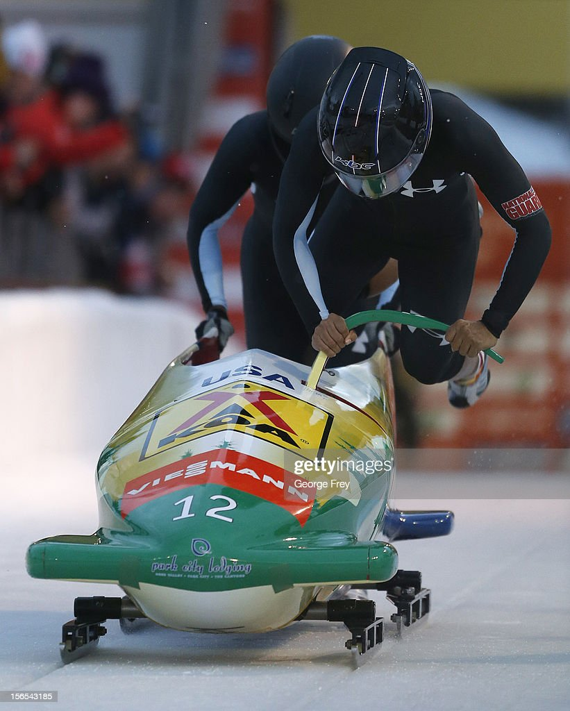 <a gi-track='captionPersonalityLinkClicked' href=/galleries/search?phrase=Elana+Meyers+-+Bobsledder&family=editorial&specificpeople=5631239 ng-click='$event.stopPropagation()'>Elana Meyers</a> (F) and Aja Evans of the U.S. finish in eighth place in the FIBT women's bobsled world cup, on November 16, 2012 at Utah Olympic Park in Park City, Utah.