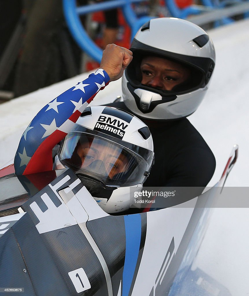 <a gi-track='captionPersonalityLinkClicked' href=/galleries/search?phrase=Elana+Meyers&family=editorial&specificpeople=5631239 ng-click='$event.stopPropagation()'>Elana Meyers</a> and Aja Evans of the U.S. react to their second run in the women's bobsleigh event in the 2013 IBSF World Cup race November 30, 2013 in Calgary, Alberta, Canada.