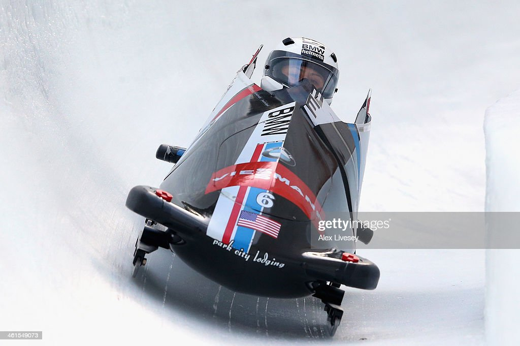 <a gi-track='captionPersonalityLinkClicked' href=/galleries/search?phrase=Elana+Meyers+-+Bobsledder&family=editorial&specificpeople=5631239 ng-click='$event.stopPropagation()'>Elana Meyers</a> and Aja Evans of USA during a training run for the Women's Bobsleigh event at the Viessmann FIBT Bob & Skeleton World Cup at Olympia Bob Run on January 9, 2014 in St Moritz, Switzerland.