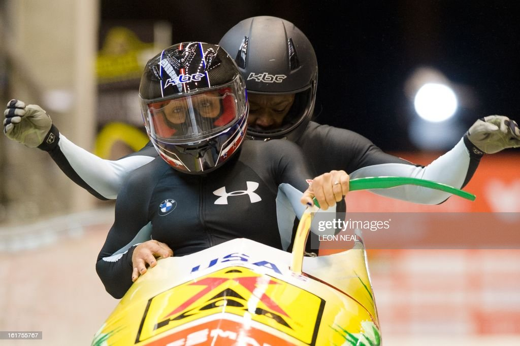 US Elana Meyers (L) and Aja Evans take part in the first run during the Women's Bobsleigh competition at the Sanki Sliding Centre, some 50 km from Russia's Black Sea resort of Sochi, on February 15, 2013. With a year to go until the Sochi 2014 Winter Games, construction work continues as tests events and World Championship competitions are underway.