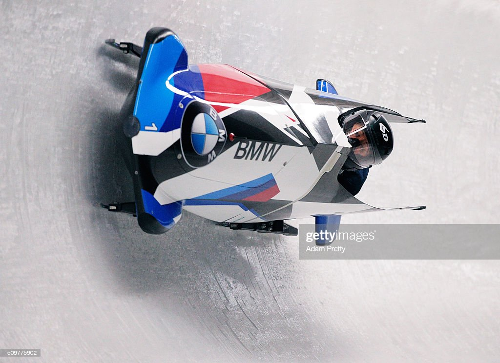 Elana Meyers Taylor and Lauren Gibbs of the USA pilot their Bob down the track during during Day 1 of the IBSF World Championships for Bob and Skeleton at Olympiabobbahn Igls on February 12, 2016 in Innsbruck, Austria.