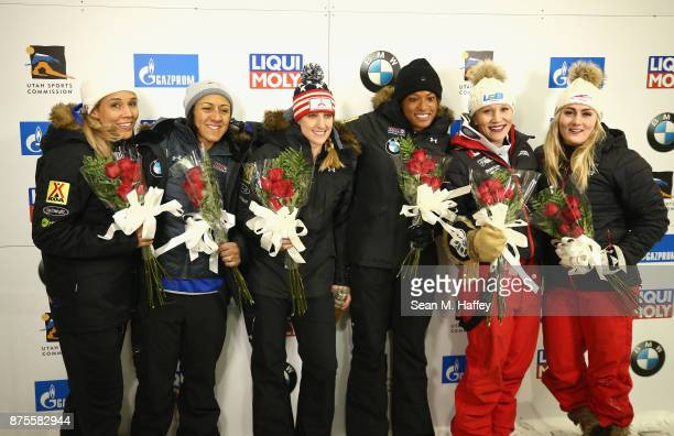 Elana Meyers Taylor and Lolo Jones of the USA Jamie Greubel Poser and Lauren Gibbs of the USA and Kaille Humphries and Melissa Lotholz of Canada look...