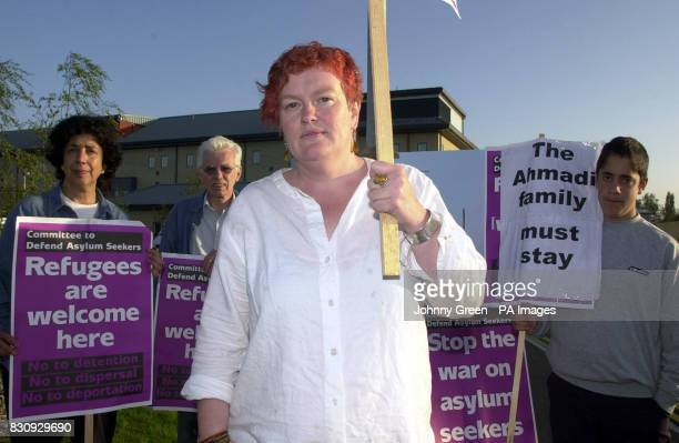 Elane Heffernan from the Committee to Defend Asylum Seekers protests outside Harmondsworth Detention Centre near Heathrow Airport * as she joined...