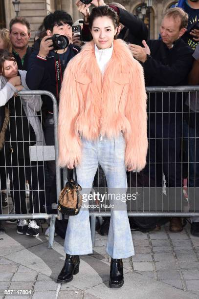 Elane Zhong Chuxi is seen arriving at Louis Vuitton show during Paris Fashion Week Womenswear Spring/Summer 2018 on October 3 2017 in Paris France