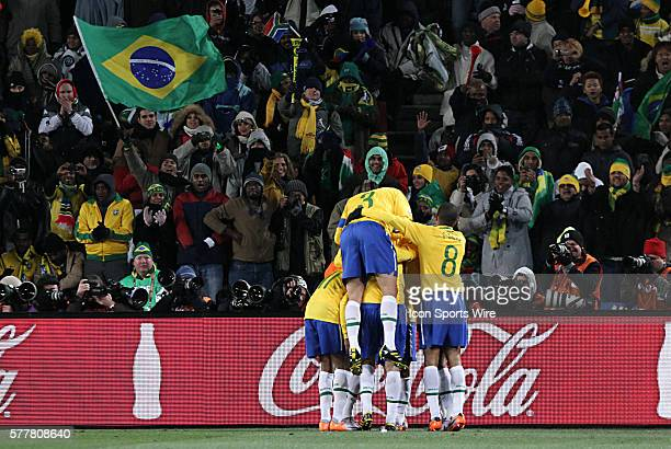 Elano's is celebrated by his teammates The Brazil National Team defeated the North Korea National Team 21 at Ellis Park Stadium in Johannesburg South...