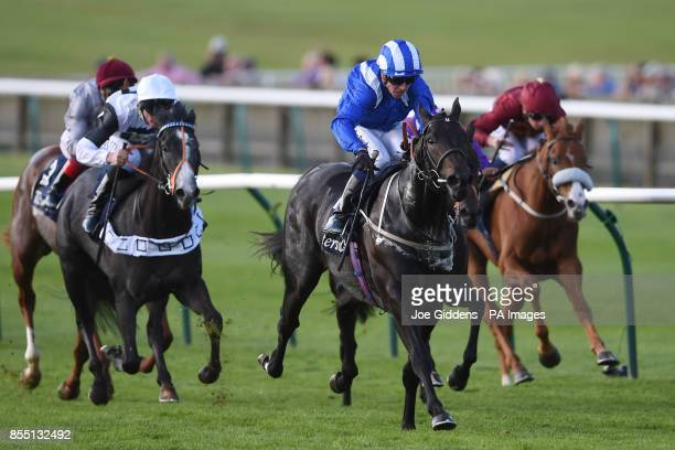 Elarqam ridden by Jim Crowley goes on to win the Tattersalls Stakes during day one of the Cambridgeshire Meeting at Newmarket Racecourse