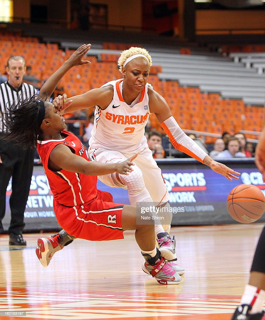 Elashier Hall #2 of the Syracuse Orange drives to the basket against Shakena Richardson #24 of the Rutgers Scarlet Knights during the game at the Carrier Dome on February 19, 2013 in Syracuse, New York.