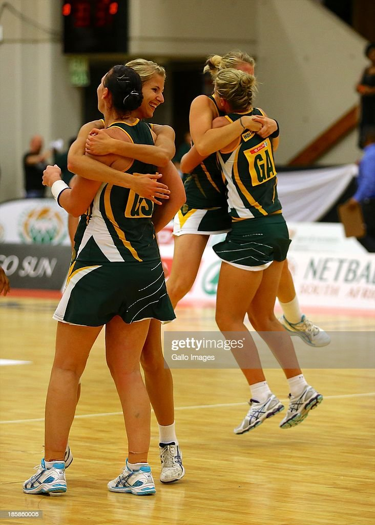 Elated members of the South African team during the International SPAR Tri Nations netball final match between South Africa and England at Vodacom NMMU Indoor Stadium on October 25, 2013 in Port Elizabeth, South Africa.
