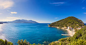 Elba island sea, Portoferraio Enfola headland beach and Capanne mount. Livorno Tuscany, Italy, Europe