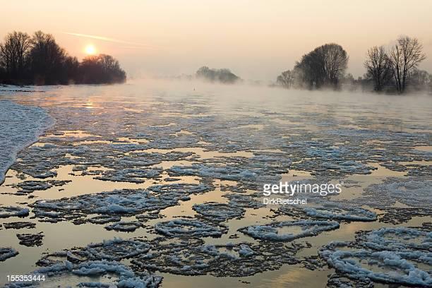 Elbe River in Winter.