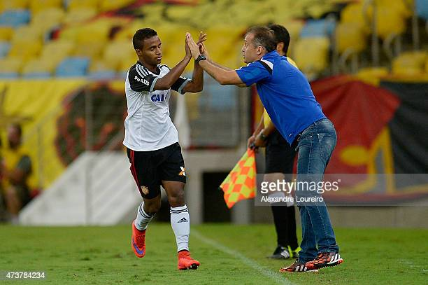 Elber of Sport Recife celebrates a scored goal with head coach Eduardo Baptista during the match between Flamengo and Sport Recife as part of...