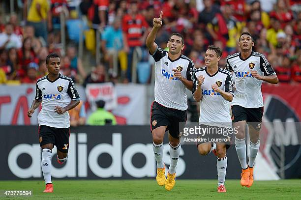 ElberDiego Souza Rene and Durval of Sport Recife celebrates a scored goal during the match between Flamengo and Sport Recife as part of Brasileirao...