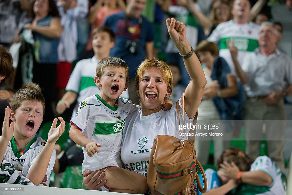 Elche fans celebrate scoring their team«s goal to Real Madrid during the La Liga match between Elche FC and Real Madrid CF at Estadio Manuel Martinez Valero on September 25, 2013 in Elche, Spain.
