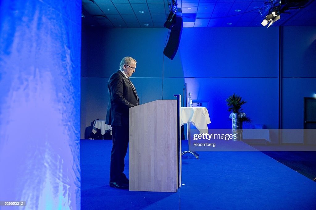 Eldar Saetre chief executive officer of Statoil ASA speaks at the Federation of Norwegian Industries Conference in Oslo Norway on Monday May 9 2016...