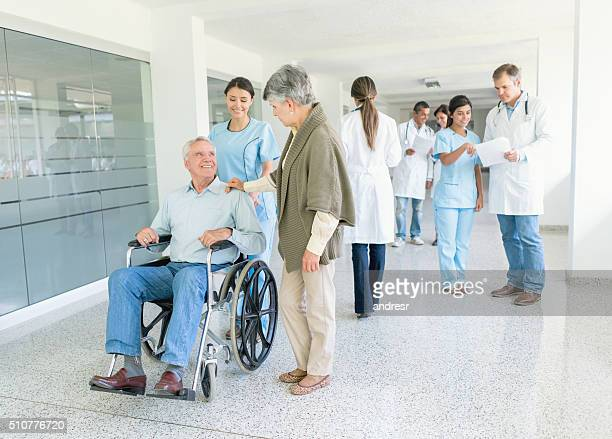 Elder patient at the hospital in a wheelchair