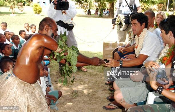 Elder performing Kava ceremony at school yard in Mome village to Jon Roseman