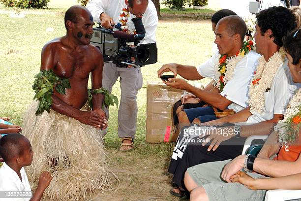 Elder performing Kava ceremony at school yard in Mome village to Kelly Slater