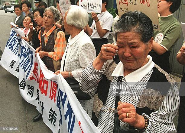 Elderely South Korean women 22 April rally to demand the Japanese government for compensation and for a formal apology for forcing them to serve as...
