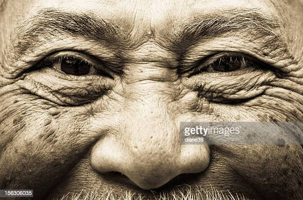 Elderly Asian man closeup