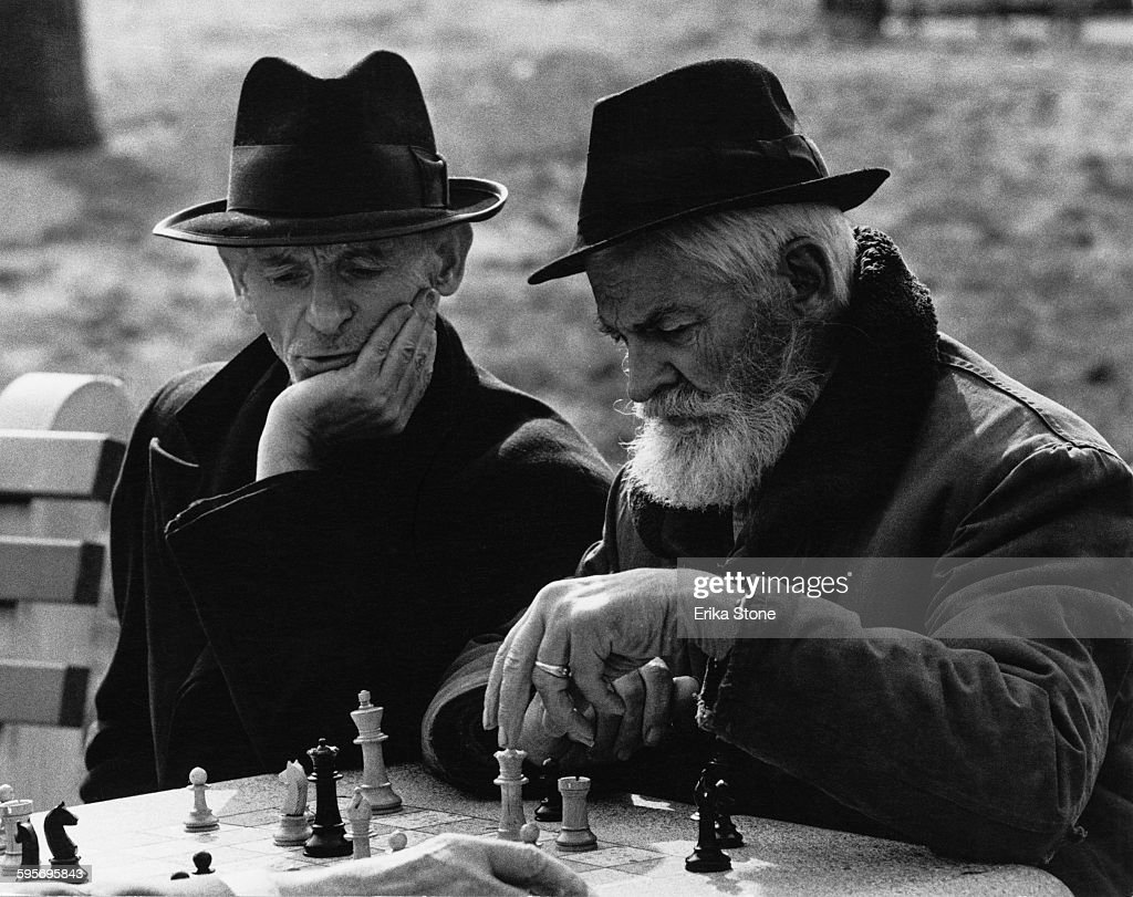 Elderly chess players in Washington Square Park New York City circa 1960