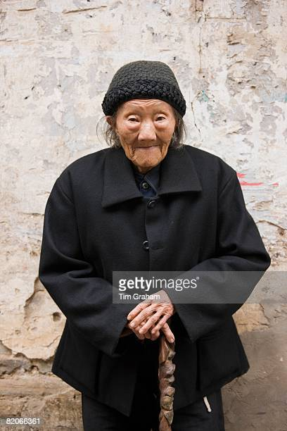 Elderly Chinese woman aged 102 in Fuli Old Town Xingping China