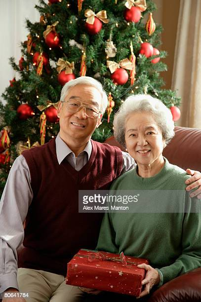 Elderly couple at Christmas time smiling at camera